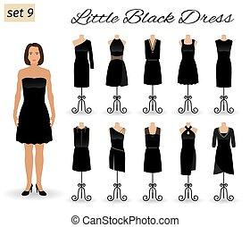 mały, dress., cocktail, kobieta, mannequins., komplet, czarnoskóry, fason, stroje