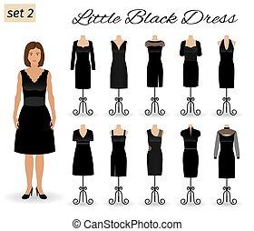 mały, dress., komplet, cocktail, litera, mannequins., wieczorny, kobieta, czarnoskóry, fason, stroje
