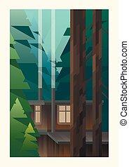 mały, drewna, kabina
