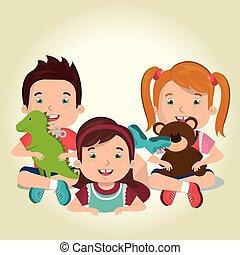 mały, dzieciaki, interpretacja, litery, zabawki