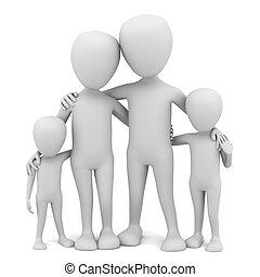 mały, family., 3d, -, ludzie