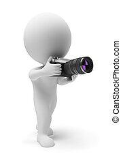 mały, fotograf, 3d, -, ludzie