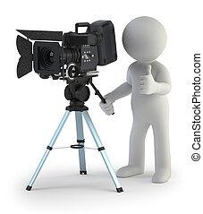 mały, fotoreporter, 3d, -, ludzie