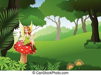 mały, grzyb, posiedzenie, tropikalny las, tło, wróżka