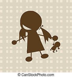 mały, interpretacja, dziewczyna, lalka