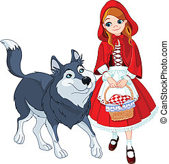 mały, jeżdżenie, wilk, czerwony, kaptur