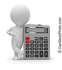 mały, kalkulator, 3d, -, ludzie