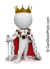 mały, król, 3d, -, ludzie