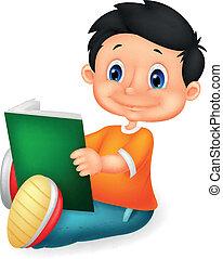 mały, książka, chłopieć czytanie, rysunek