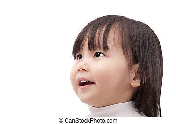 mały, odizolowany, uśmiechanie się, patrząc, asian, tło, biały, dziewczyna