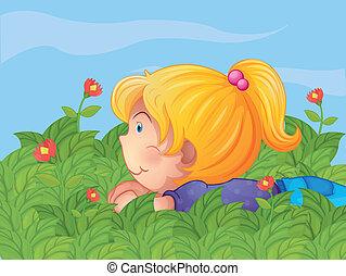 mały, ogród, dziewczyna, krycie