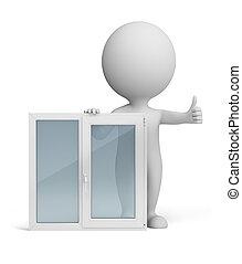 mały, okno, 3d, -, ludzie