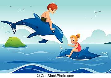 mały, pływacki, dzieciaki, ocean, delfiny