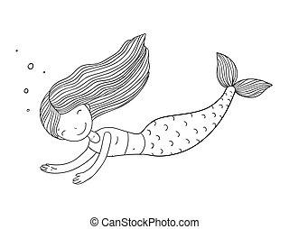 mały, piękny, mermaid.
