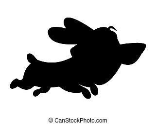 mały, pies, wyścigi, sprytny, czarnoskóry, cień, zewnątrz