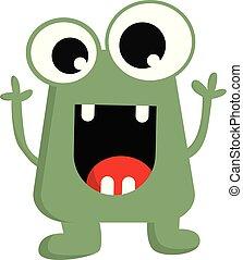 mały, potwór, kolor, ilustracja, wektor, zielony, albo, szczęśliwy