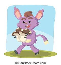 mały, purpurowy, potwór