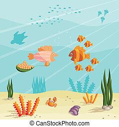 mały, ryby, życie