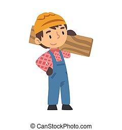 mały, rysunek, chłopiec, zbudowanie, budowniczy, drewniany, litera, twardy, transport, wektor, deska, kapelusz, kombinezon, błękitny, sprytny, pracownik, ilustracja, chodząc, styl, instrument