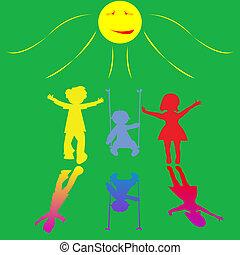 mały, słoneczny, interpretacja, tło, dzieci, szczęśliwy