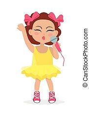 mały, singer., schyla się, head., dziewczyna, śpiew