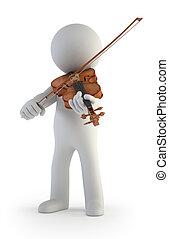 mały, skrzypce, 3d, -, ludzie