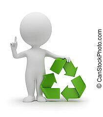 mały, symbol, recycling, 3d, ludzie