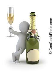 mały, szampan, -, 3d, ludzie