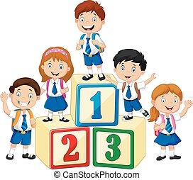 mały, szczęśliwy, liczba, kloc, dzieci