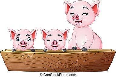 mały, trzy, świnia, jeżdżenie, rysunek, łódka