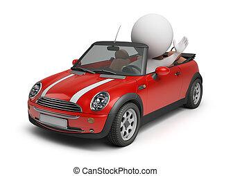 mały wóz, 3d, -, ludzie