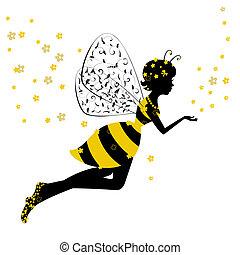 mały, wróżka, dziewczyna, pszczoła