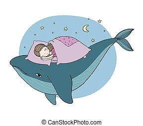 mały, wygodny, odizolowany, rysunek, bed., theme., tło., obiekty, whale., morze, ręka, biały, spanie, dziewczyna