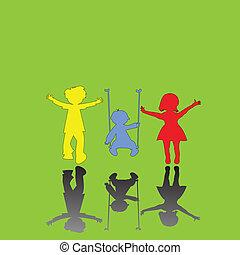 mały, zielony, dzieci, tło, szczęśliwy