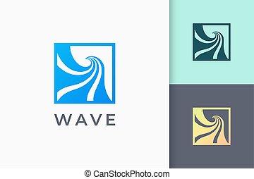 machać, albo, fale przybrzeżne, prosty, ocean, logo, nowoczesny