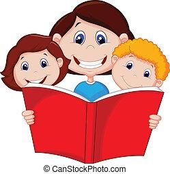 macierz, książka, czytanie, rysunek, jej