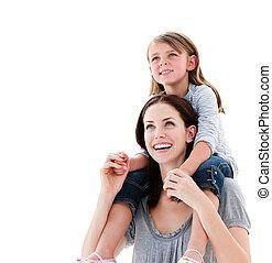 macierz, piggyback jadą, córka, radosny, jej, udzielanie