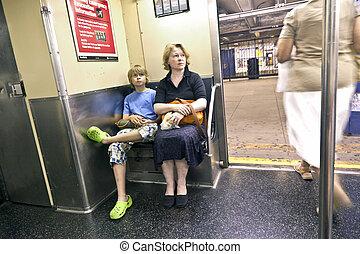 macierz, posiedzenie, tunel, dziecko
