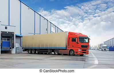 magazyn, ładunek, -, przewóz, wózek