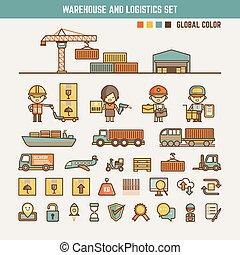 magazyn, logisty, infographic, elementy