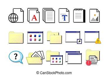 magazynowanie, icons., retro, płaski, nostalgiczny, odizolowany, symbolika, informacja, żółty, listki, biały, set., documents., dane, wektor, stary tytułują, elektronowy, pixel, komputer, organization., falcownicy, signs.