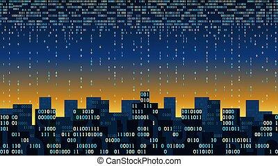magazynowanie, internet, dane, wielka chmura, abstrakcyjny, potok, cyfrowy, pojęcie, technologia, -, potok, futurystyczny, mądry, rzeczy, inteligencja, sieć, związany, dane, sztuczny, dwójkowy, miasto