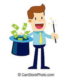 magia, pieniądze, różdżka, podstęp, biznesmen, kapelusz, came, poza