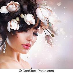 magnolia., fryzura, fason, brunetka, dziewczyna
