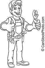 majster do wszystkiego, klucz do nakrętek, szarpnąć, instalator, rysunek, mechanik