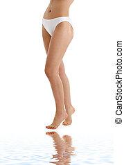 majtasy, bikini, długi, piasek, biały, nogi