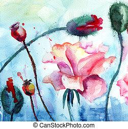 mak, róże, malarstwo, akwarela, kwiaty