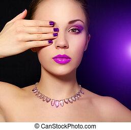 makijaż, czarnoskóry, manicure., tło