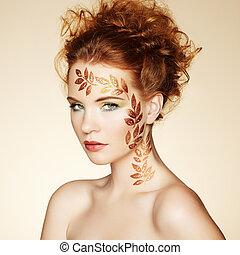 makijaż, doskonały, hairstyle., elegancki, portret, jesień, kobieta