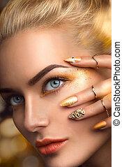 makijaż, doskonały, sexy, dziewczyna, złoty, blondynka, wzór, piękno